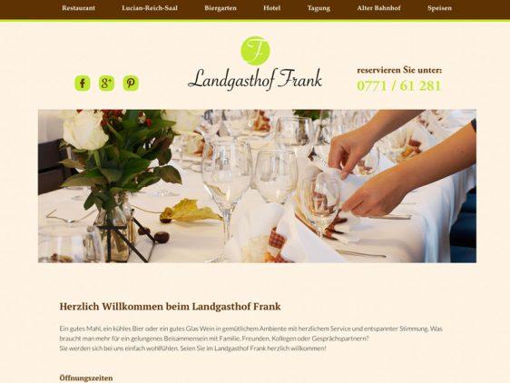 Landgasthof Frank mit neuer Website online