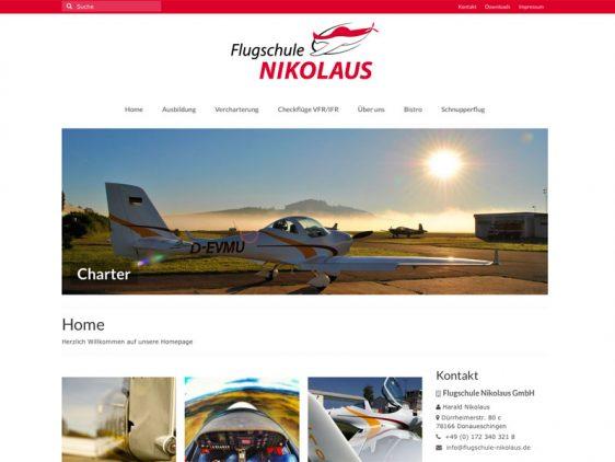 Di2 Ideenschmiede Werbeagentur News Flugschule Nikolaus Website