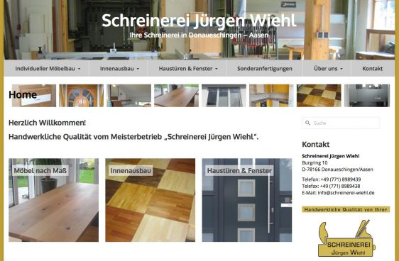 Di2 Ideenschmiede Werbeagentur News Schreinerei Jürgen Wiehl Website