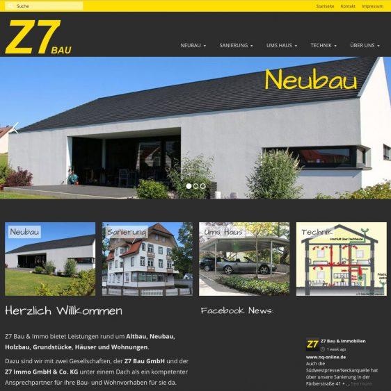 Di2 Ideenschmiede Werbeagentur News Z7 Bau Website