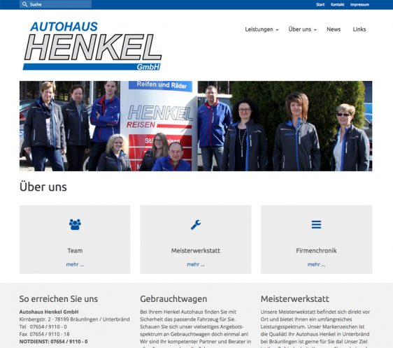 Redesign Webseite Autohaus Henkel