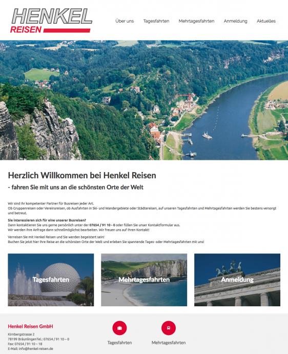 Webseite neu für Henkel Reisen
